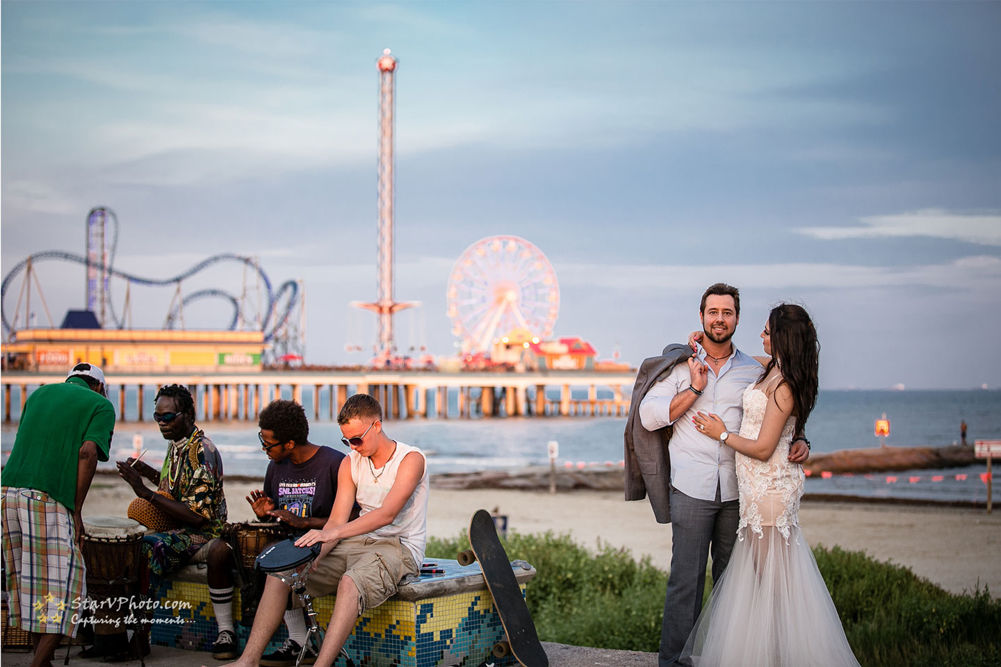 Beautiful Engagement photo on Galveston beach